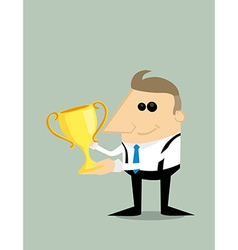 Happy cartoon businessman with trophy vector