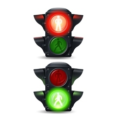 Pedestrian traffic lights set vector