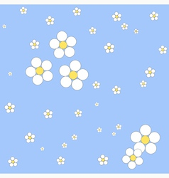 Seamless white floral pattern on a blue background vector