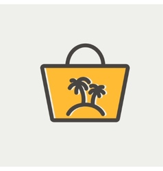 Summer bag thin line icon vector