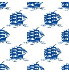 Seamless pattern of a sailing ships vector