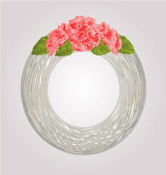 Wreath with pink hibiscus greeting card vector