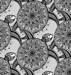 Seamless monochrome pattern with ornamental vector
