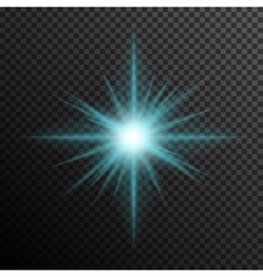 Glowing light burst with sparkles on transparent vector