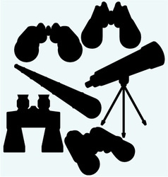 Binoculars spyglass and telescope in tripod vector
