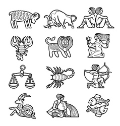 Set of black linear zodiacal signs vector