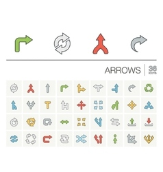 Arrows and direction color icons vector