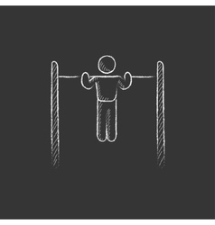 Gymnast exercising on bar drawn in chalk icon vector