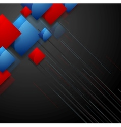 Tech geometric design with blue red squares vector