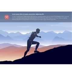 Sport running man in cross mountain landscape vector