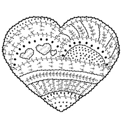 Adult coloring book page heart shaped vector image