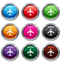 airplane set 9 collection vector image vector image