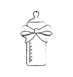 baby bottle bow cartoon vector image