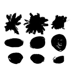 Black brush strokes set vector