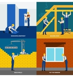 Building construction 4 flat icons square vector