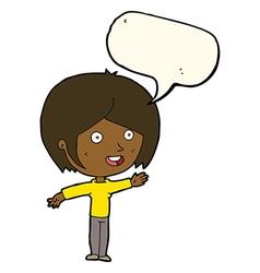 Cartoon happy girl waving with speech bubble vector