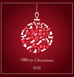 Christmas card with shoes vector