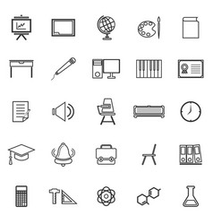 Classroom line icons on white background vector