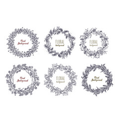 collection of elegant hand drawn wreaths or vector image