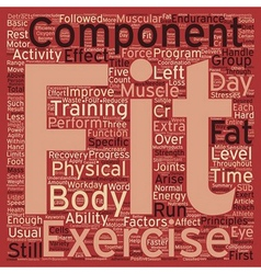 Components of physical fitness text background vector