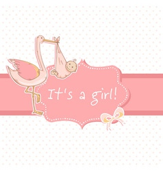 Cute baby girl announcement card with stork vector