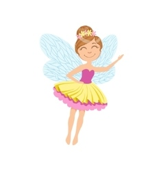 Cute Fairy In Layered Tutu Girly Cartoon Character vector image