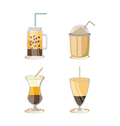 flat set icon with differents types coffee vector image