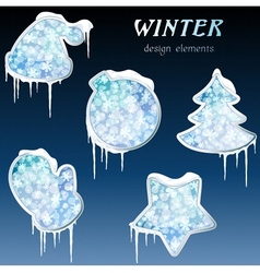 glossy winter icons with icicles vector image vector image