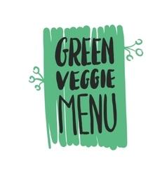 Green veggie menu hand written inscription vector