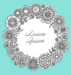 Greeting card template with hand drawn floral vector image vector image