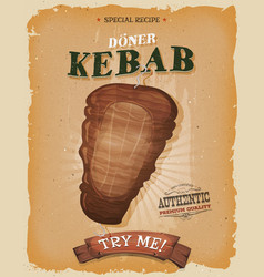 Grunge and vintage kebab sandwich poster vector