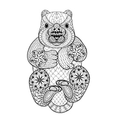 Hand drawn tribal Wombat animal totem for adult vector image vector image