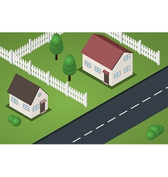 Isometric street with two houses vector image vector image