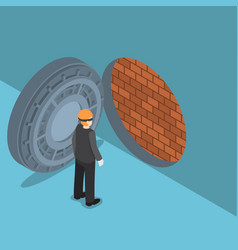 isometric thief with vault door with brick wall vector image