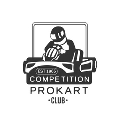 Karting club prokart competition black and white vector