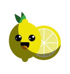 Kawaii nice happy lemon icon vector