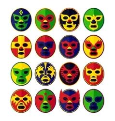 Mexican wrestling Masks set vector image vector image