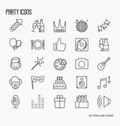 Party and celebration thin line icons set vector