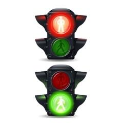 Pedestrian traffic lights set vector