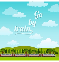 Railroad and train rides Poster Flat style vector image