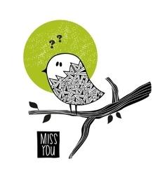 Sad bird on the tree vector image