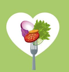 Salad vegetables health food nutrition fork vector
