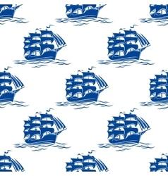 Seamless pattern of a sailing ships vector image vector image