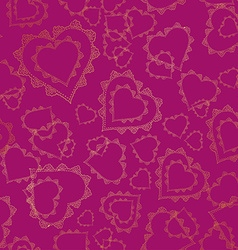 Seamless pattern of gold lacy hearts vector image vector image