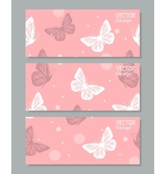 Set of three banners with paper butterflies vector image vector image