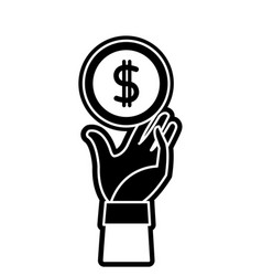 Silhouette coin with peso symbol and hand up vector