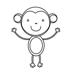 Sketch silhouette cute monkey animal vector