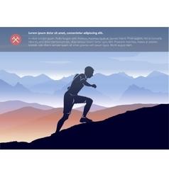 Sport running man in cross mountain landscape vector image
