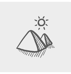 The pyramids of giza sketch icon vector