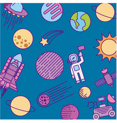 universe cosmos and astronomy icons set vector image